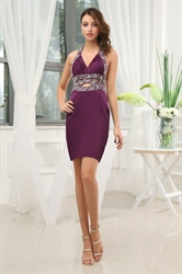 Empire Waist Short Prom Dresses, Eggplant Purple Dresses Pleated Bust