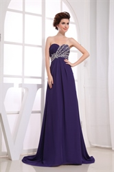 Chiffon Empire Waist Evening Dress, Long Purple Chiffon Evening Dress