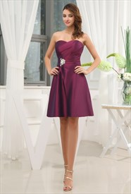 A-Line Sweetheart Short Cocktail Dress, Purple Taffeta Cocktail Dress