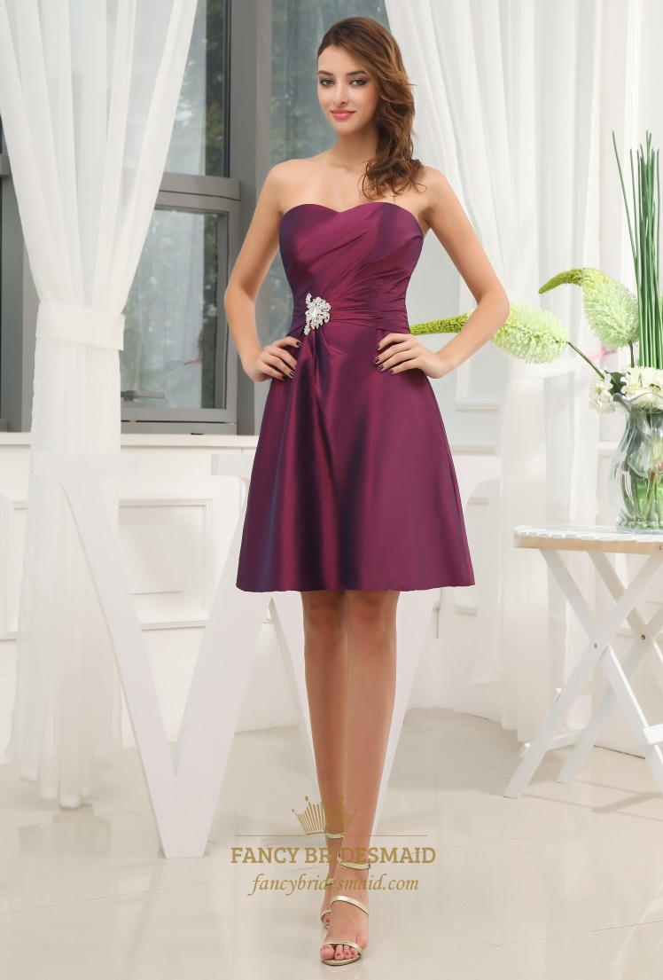 A line sweetheart short cocktail dress purple taffeta for Short sweetheart wedding dress