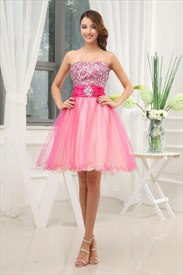 Short Layered Prom Dresses, Hot Pink Strapless Homecoming Dresses
