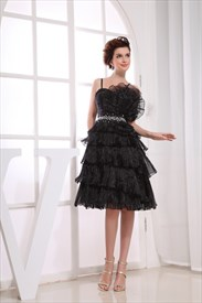 Organza Cocktail Dress, Short Layered Prom Dress With Flower Applique