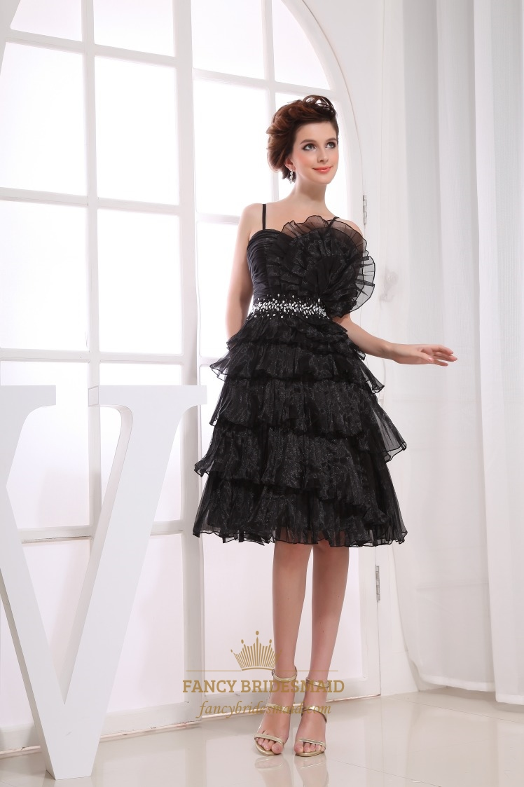Organza Black Cocktail Dress, Short Layered Prom Dress, Knee Length ...