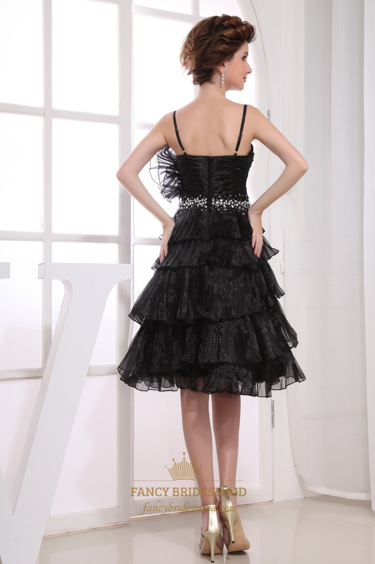 Organza Black Cocktail Dress Short Layered Prom Dress