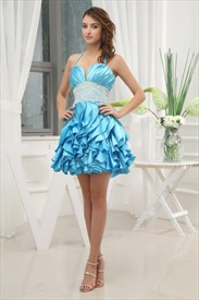 Short Empire Waist Layered Ruffle Dress, Short Prom Dress With Ruffles