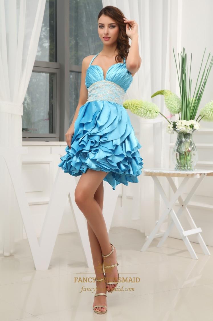Short Empire Waist Layered Ruffle Dress- Short Prom Dress With ...