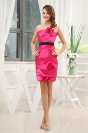 Hot Pink Dress With Black Belt, Short Strapless Taffeta Sheath Dress