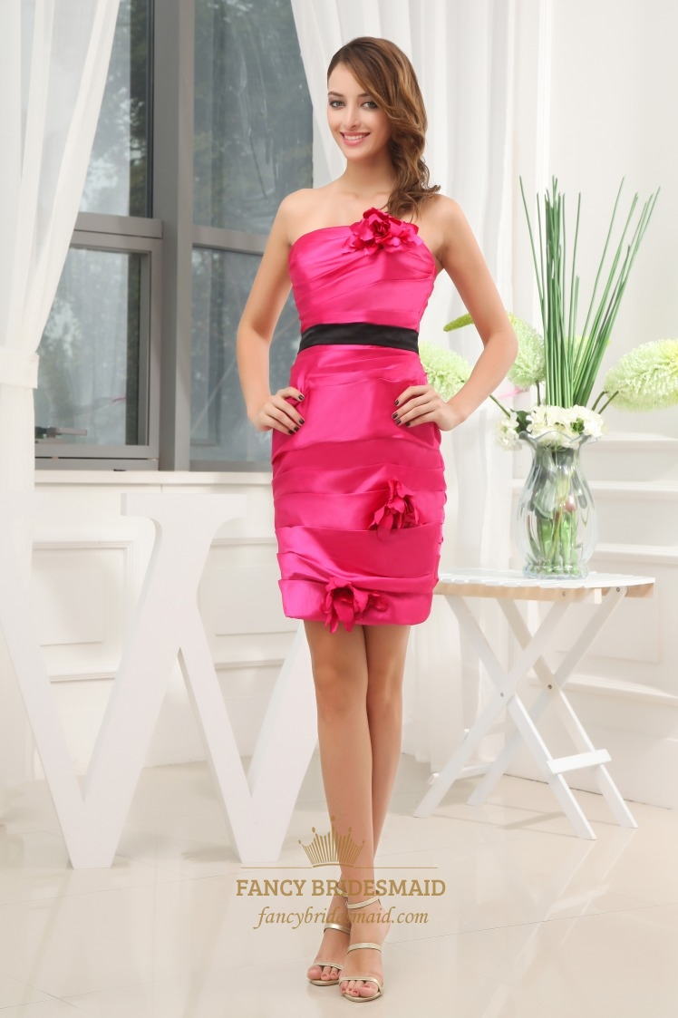 pink dress with black belt strapless taffeta