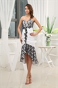 Black And White High Low Dresses, White Cocktail Dress With Black Lace