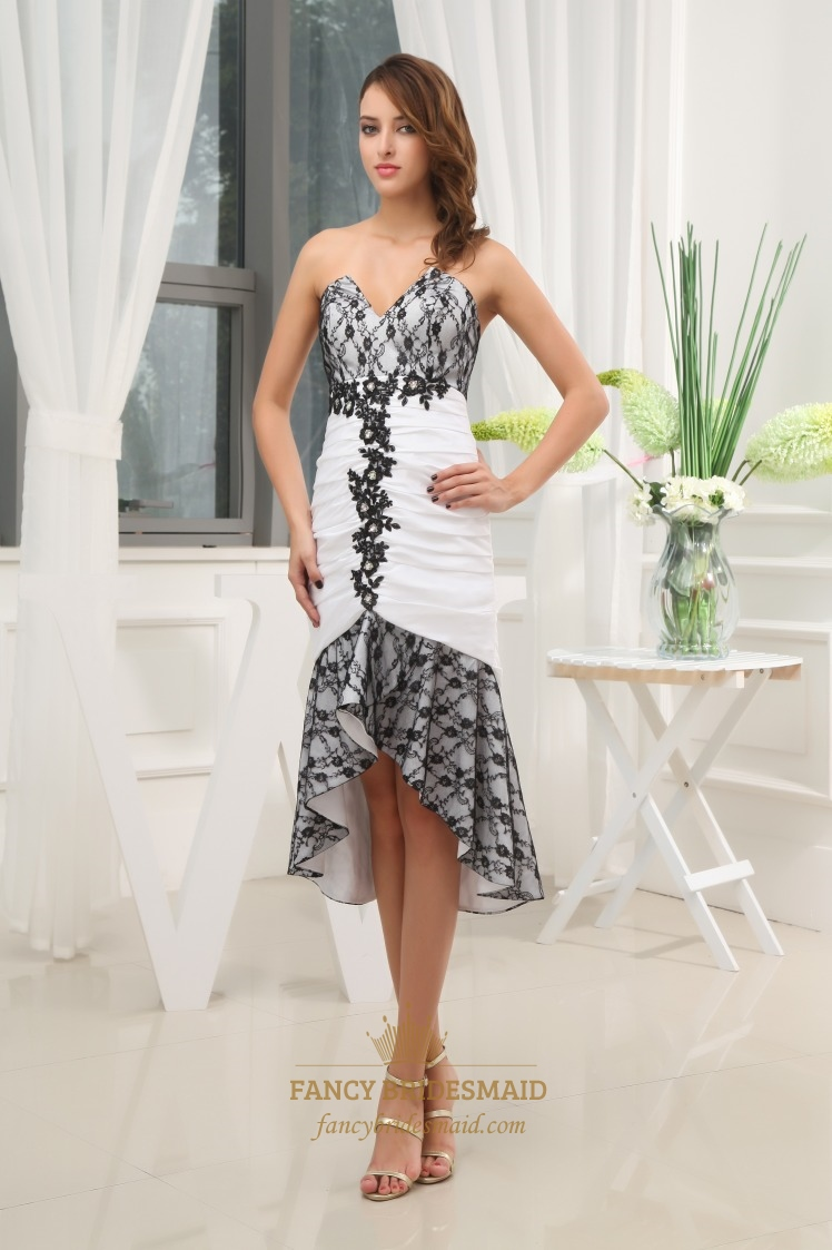 White and black high low prom dress