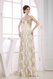 Long Strapless Sequin Evening Dress, Strapless Empire Waist Prom Dress