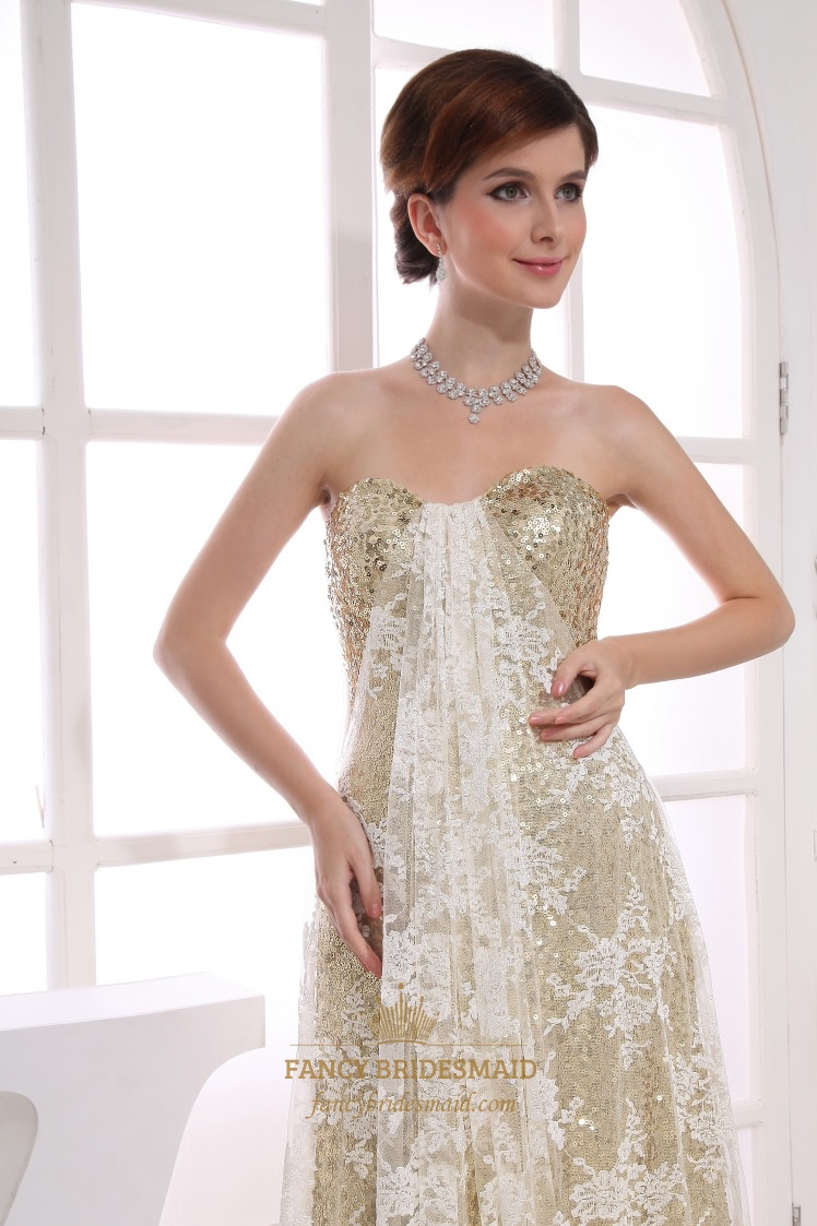 Long strapless sequin evening dress strapless empire for Strapless sparkly wedding dresses