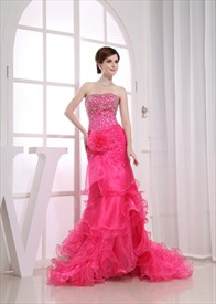 Hot Pink Strapless Prom Dress, Long Organza Gown Flower Detail Waist