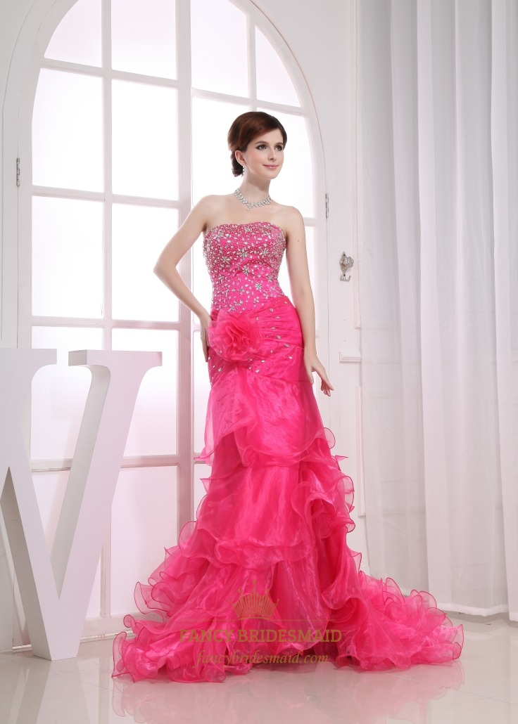 Hot Pink Strapless Prom Dress, Organza Ruffle Prom Dress, Long ...