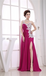 Long Evening Dress Side Split, Long Beaded Chiffon Covered Prom Dress