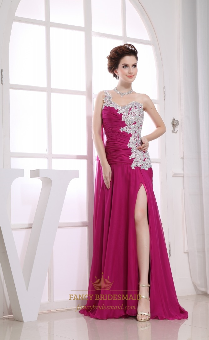 long evening dress side split long beaded chiffon covered prom dress a line one shoulder floor. Black Bedroom Furniture Sets. Home Design Ideas