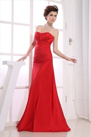 Red Strapless Bridesmaid Dresses, Long Empire Waist Bridesmaid Dresses