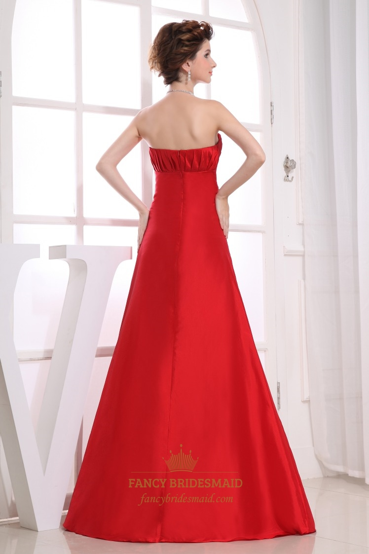 Red strapless bridesmaid dresses long empire waist for Long strapless wedding dresses