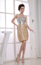 Champagne Strapless Cocktail Dress,Short Sequin Dresses For Homecoming