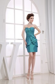 Taffeta Short Bridesmaid Dresses, Teal Blue Strapless Cocktail Dress