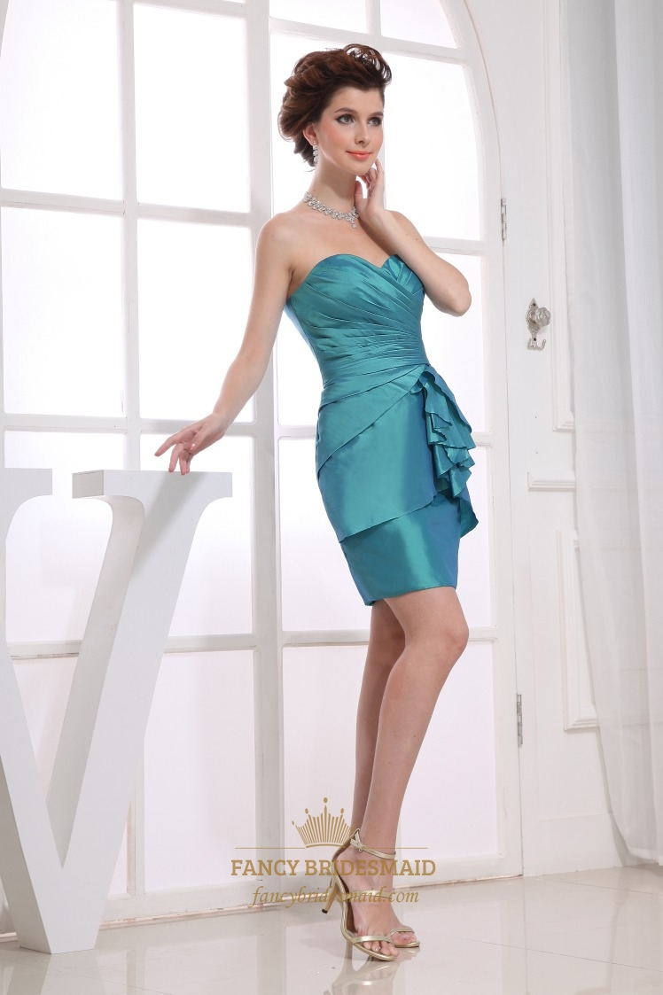 Taffeta short bridesmaid dresses teal blue strapless cocktail taffeta short bridesmaid dresses teal blue strapless cocktail dress ombrellifo Choice Image