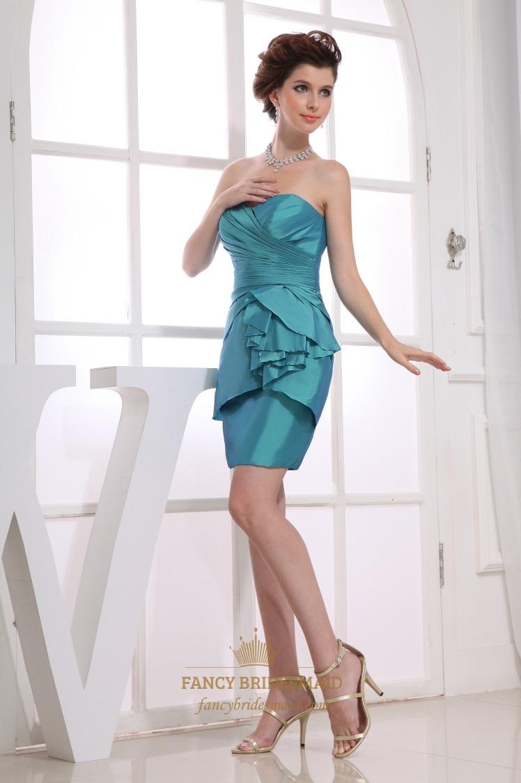 Taffeta Short Bridesmaid Dresses, Teal Blue Strapless Cocktail Dress ...