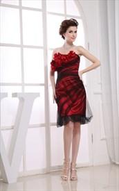Black Red Strapless Cocktail Dress, Red Knee Length Cocktail Dress