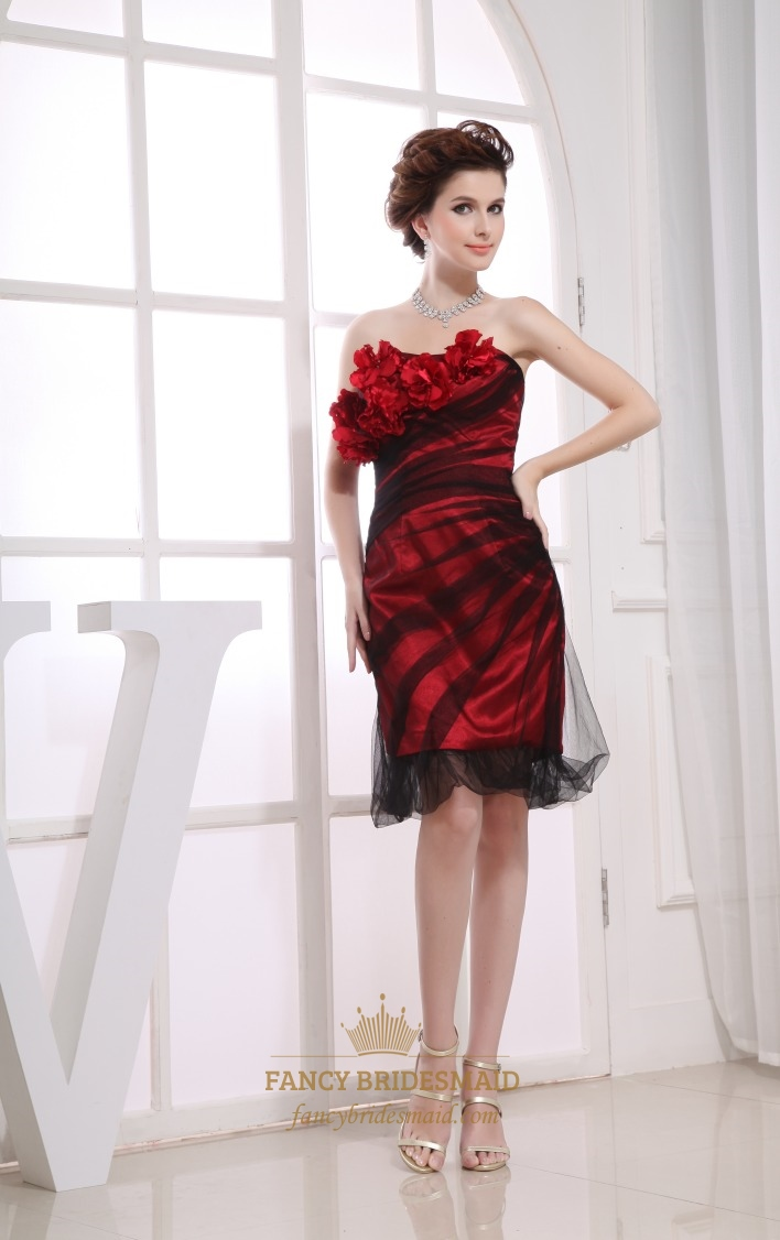 Black Red Strapless Cocktail Dress, Red Knee Length Cocktail Dress ...