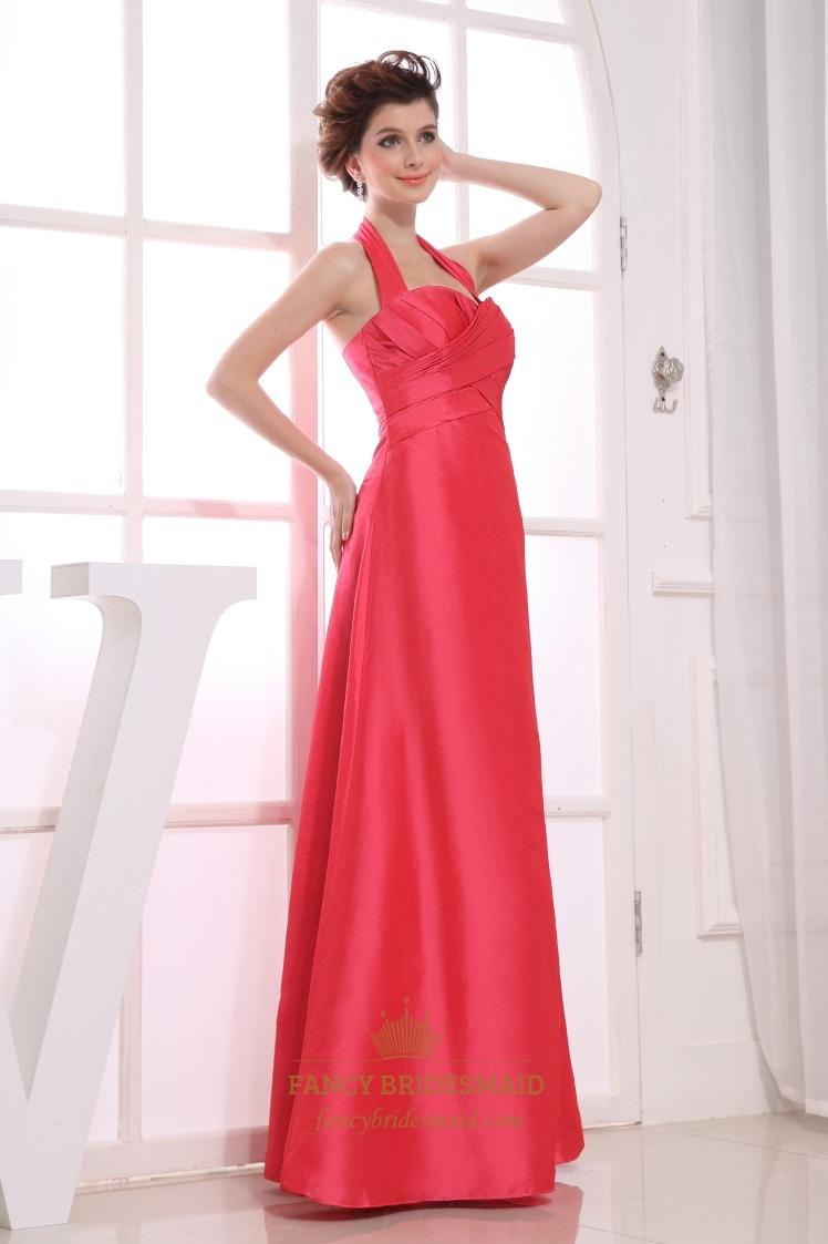 Long halter bridesmaid dresses halter empire waist for Halter empire waist wedding dresses