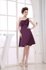 One Shoulder Empire Waist Cocktail Dress, Eggplant Empire Waist Dress