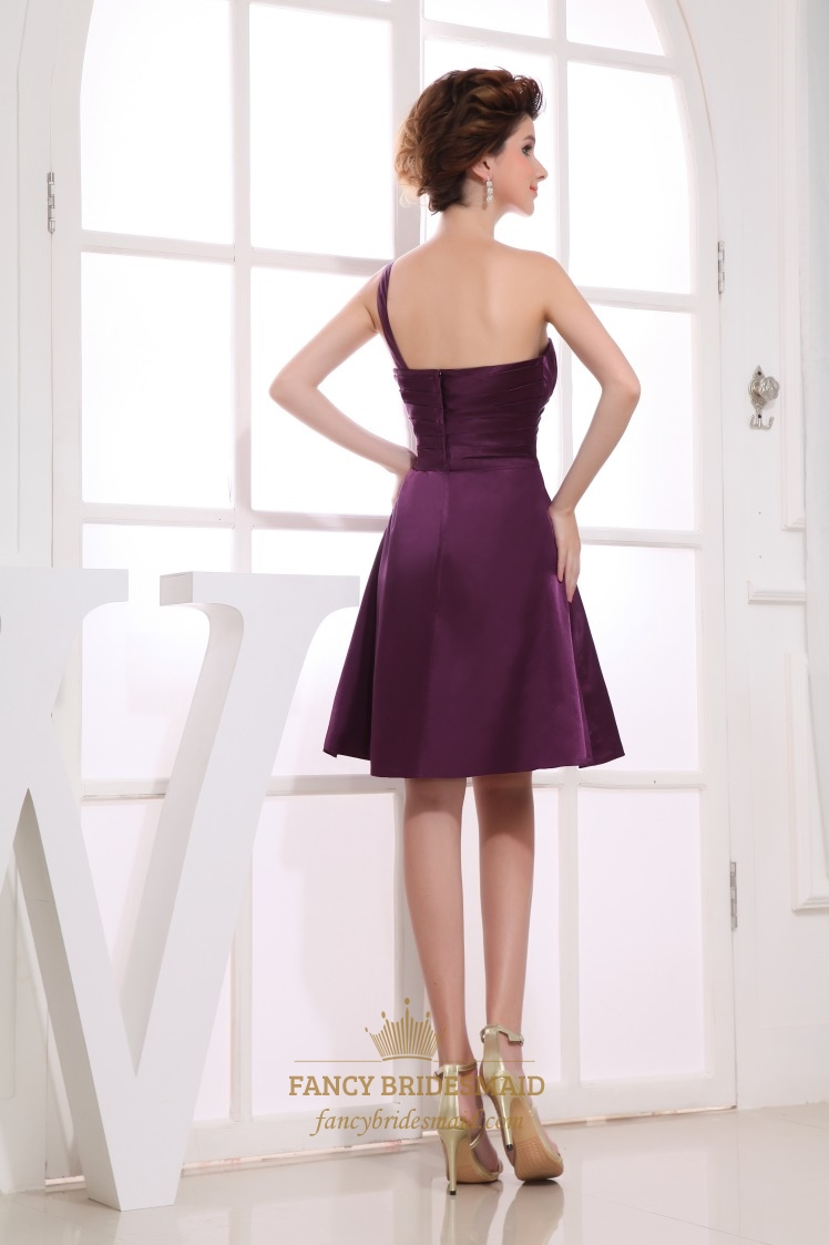 One Shoulder Empire Waist Cocktail Dress, Eggplant Empire Waist ...