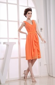 Pleated Chiffon Bridesmaid Dress, A-Line Knee Length Chiffon Dress