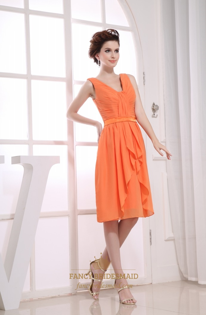 84fb95a702ce Pleated Chiffon Bridesmaid Dress, A-Line Knee Length Chiffon Dress ...