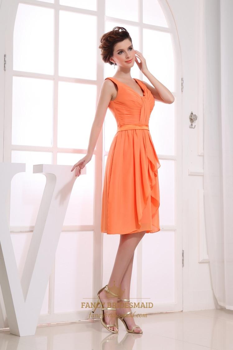 bridesmaid dresses chiffon knee length