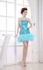 Blue Sequin Short Prom Dress, Short Spaghetti Strap Homecoming Dress
