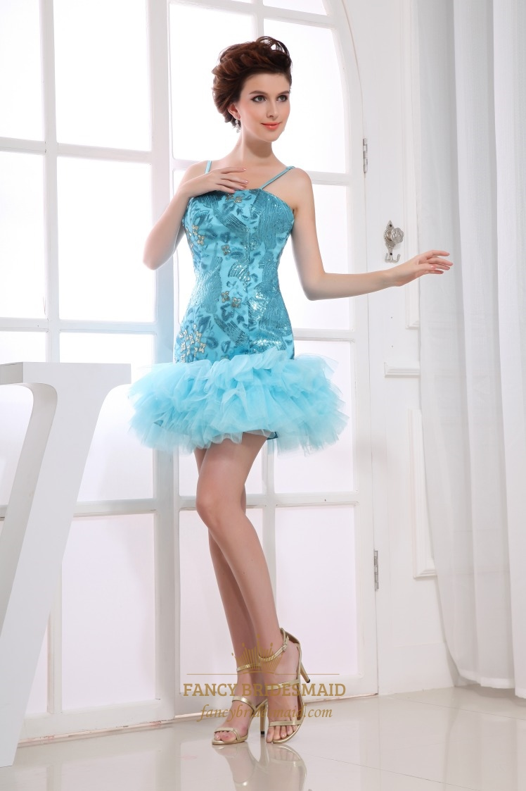 Blue Sequin Short Prom Dress, Short Spaghetti Strap Homecoming ...