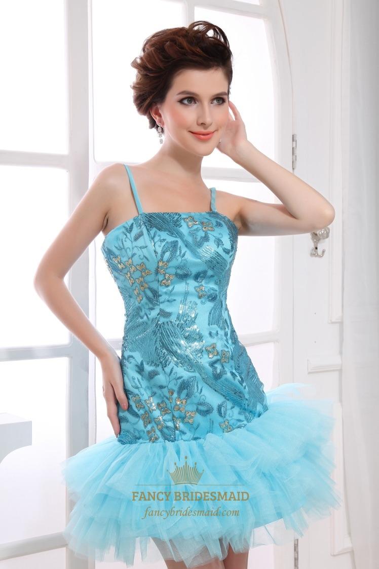 Blue Sequin Short Prom Dress, Short Spaghetti Strap Homecoming Dress ...