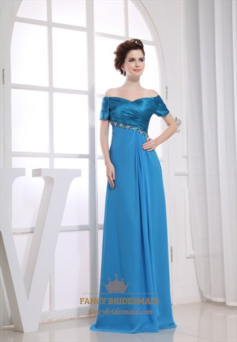 Blue Off The Shoulder Prom Dress,Off The Shoulder Chiffon Evening Gown