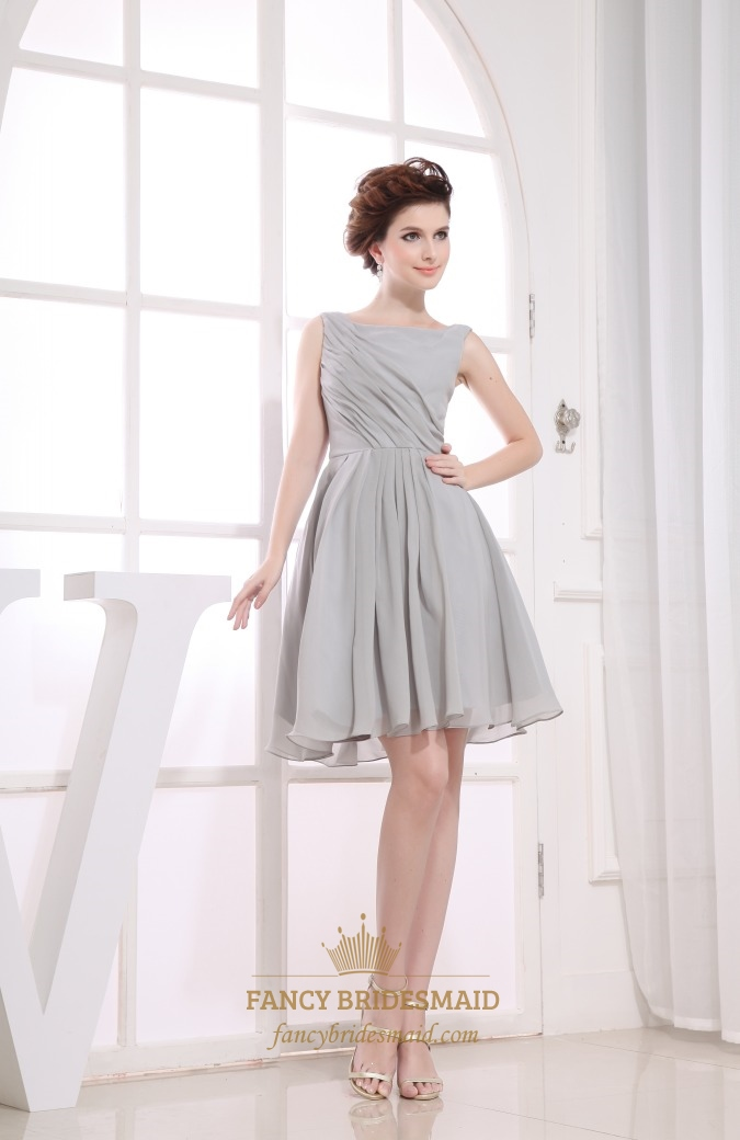 Gray short pleated chiffon a line bateau bridesmaid for Gray dresses to wear to a wedding
