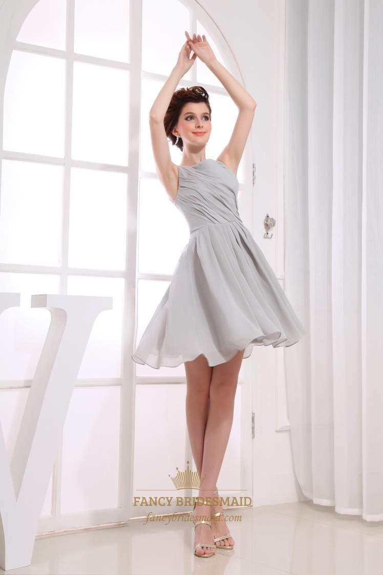 Gray short pleated chiffon a line bateau bridesmaid dresses gorgeous gray short pleated chiffon a line bateau bridesmaid dresses ombrellifo Choice Image