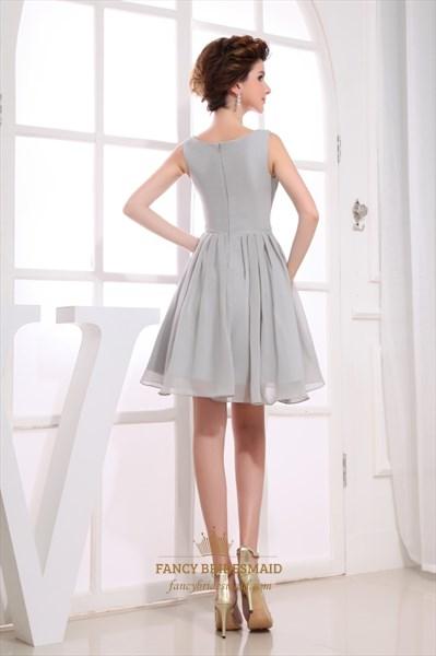 Gorgeous Gray Short Pleated Chiffon A-Line Bateau Bridesmaid Dresses