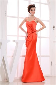 Spaghetti Straps Orange Ruched Floor-Length Satin Bridesmaid Dresses