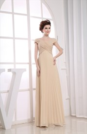 Elegant Champagne Chiffon Cap Sleeve Pleated Long Prom Evening Dresses