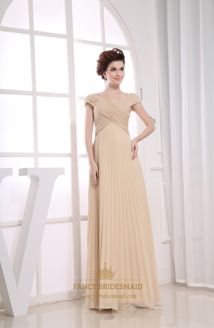 Champagne chiffon cap sleeve pleated long prom evening for Wedding dresses for mother of bride