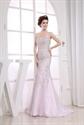 Amazing Sequin White Mermaid Floor-Length Organza Gown Evening Dresses