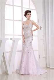 Amazing Sequin White Mermaid Floor-Length Organza Gown Evening Dresses