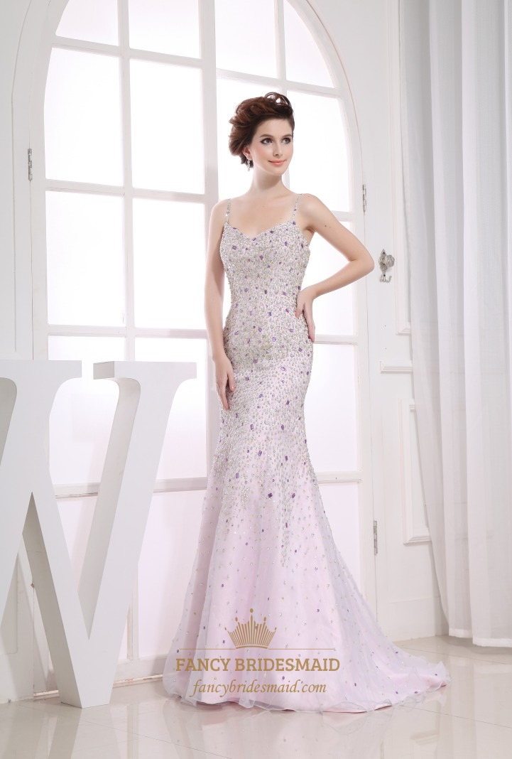 Sequin Long Evening Dresses, White Mermaid Formal Dress, Organza ...