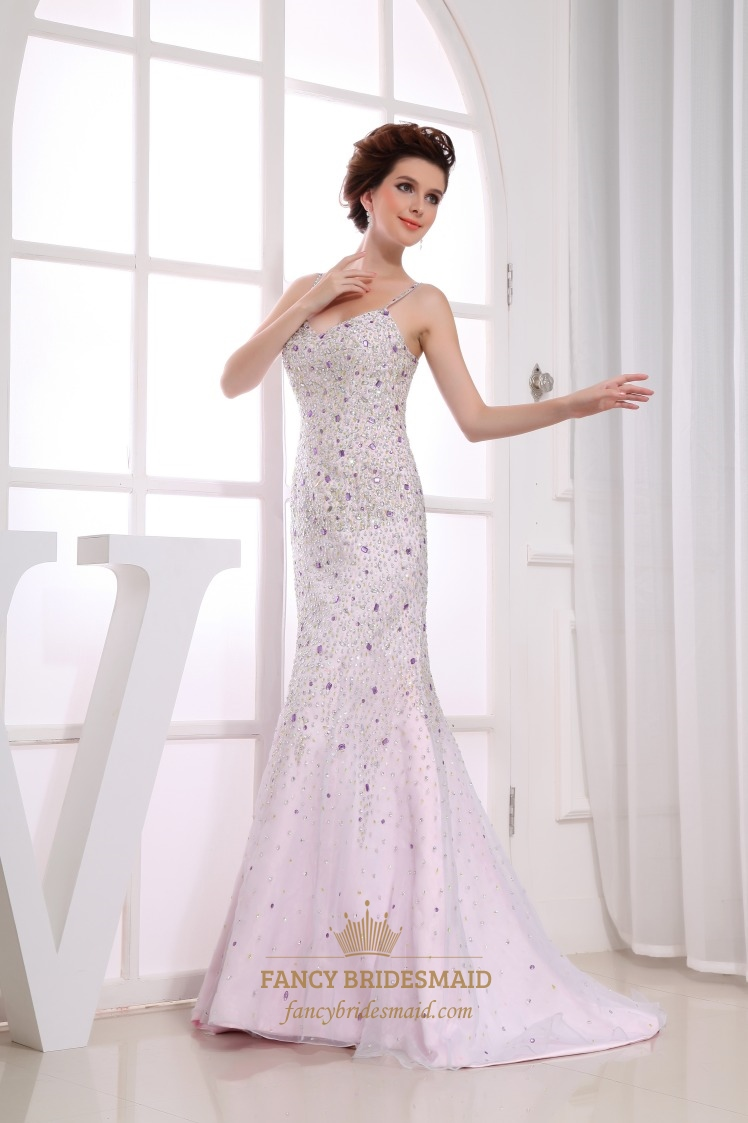 6912a5cc Amazing Sequin White Mermaid Floor-Length Organza Gown Evening Dresses