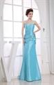 Blue Taffeta Sleeveless Mermaid Spaghetti Straps Long Bridesmaid Dress