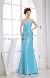 Blue Taffeta Sleeveless Mermaid Spaghetti Straps Long Bridesmaid Dress